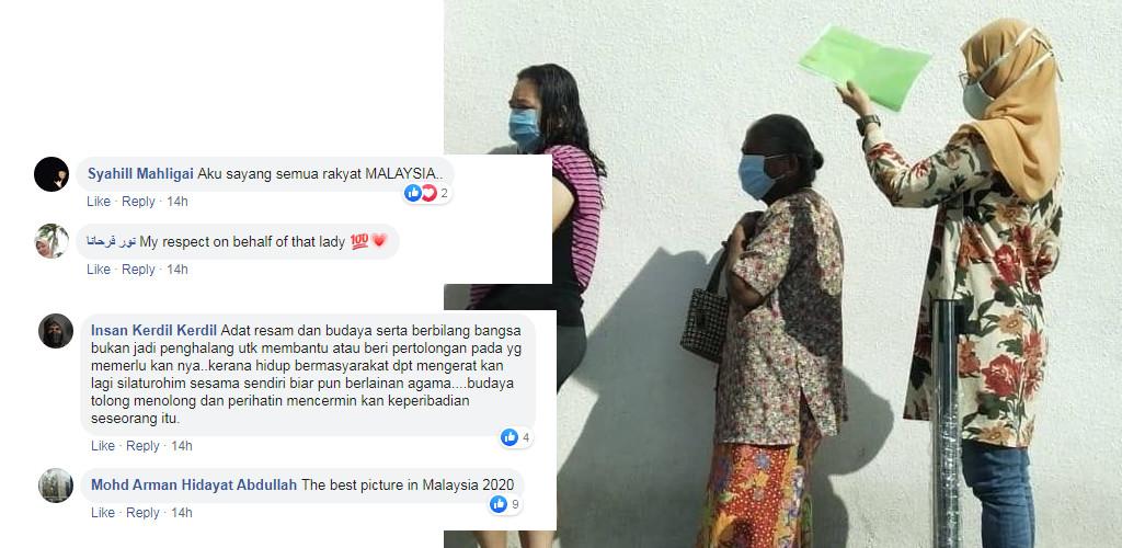 'The best picture in Malaysia 2020'- Warganet terharu gadis lindung nenek pakai fail