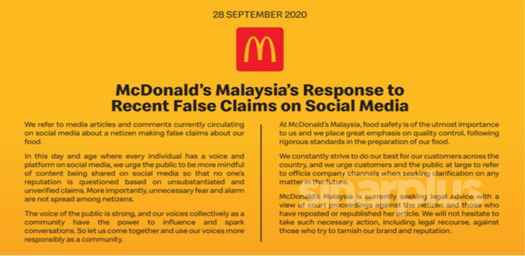 Gambar tular tidak sahih, McDonald's tidak teragak-agak ambil tindakan undang-undang