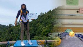 Hati-hati sukan ekstrem! Wanita malang jatuh rope swing, terhempas dalam sungai