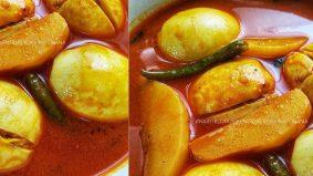 Kari telur simple dan sedap bersama ubi kentang