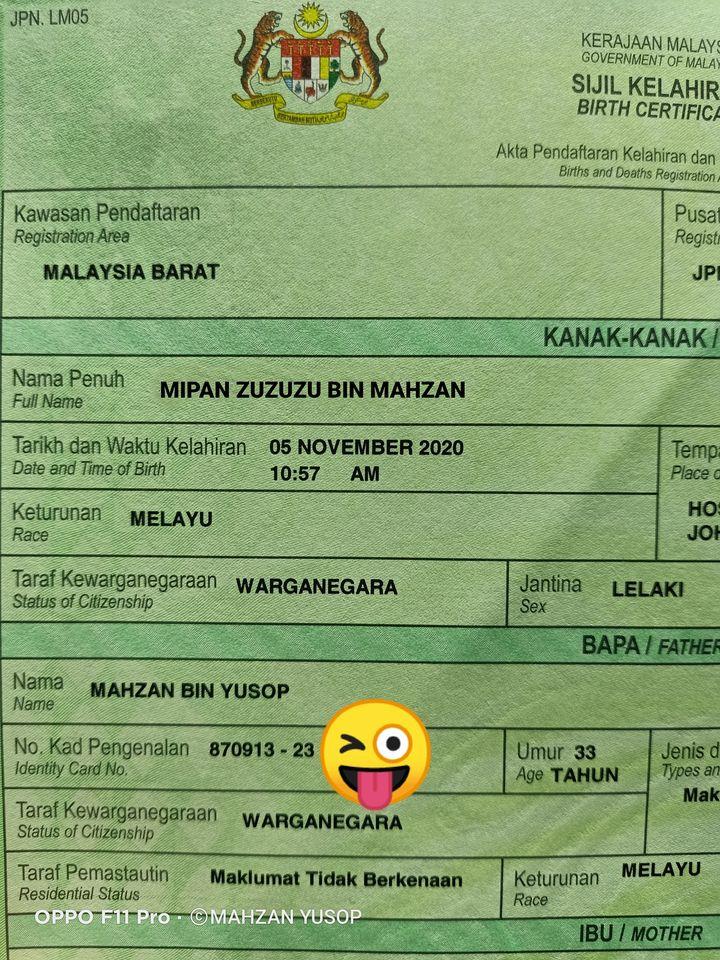 Kena kecam sebab letak nama anak Mipan Zuzuzu, ini penjelasan si bapa