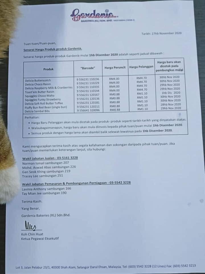 Roti Gardenia naik harga bermula esok, ini penjelasan GBKL
