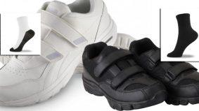 Kasut bebas hitam atau putih, stoking wajib sama warna kasut