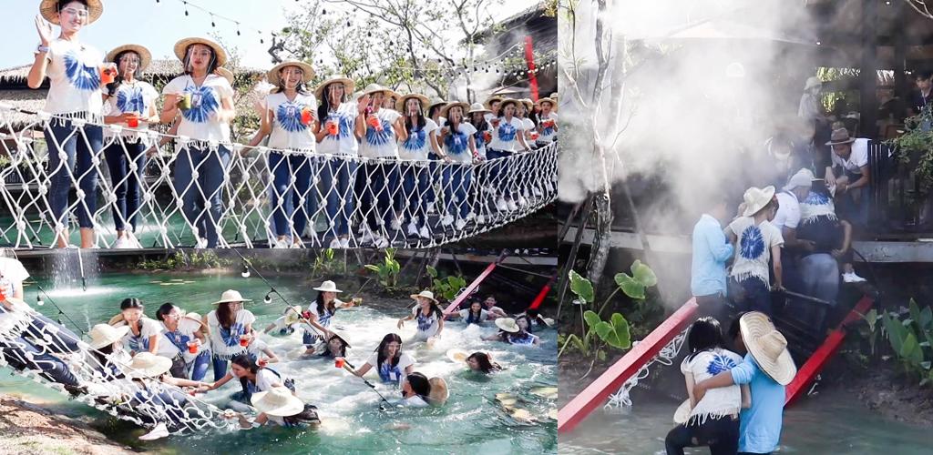 30 ratu cantik jatuh dalam kolam, jambatan tiba-tiba runtuh
