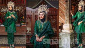 Cantiknya…Che Ta melaram baju pengantin songket hijau