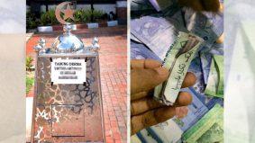 Dipercayai mahu elak riak, jemaah lelaki selit not RM100 dalam gulungan wang kertas RM1 lama
