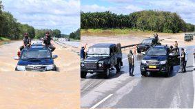 Lawatan mengejut ke Maran, Agong pandu kereta sendiri redah banjir