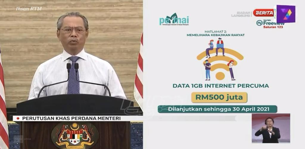 PM umum data internet 1GB setiap hari secara percuma dilanjutkan sehingga hujung April