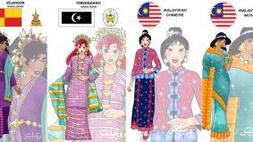 Hebat! Gadis ini lukis 17 Disney Princess berpakaian tradisi Melayu