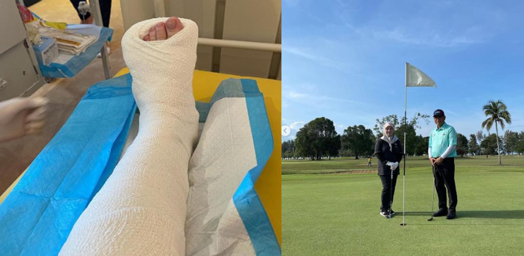Syukur, tidak patah: Tunku Azizah terseliuh kaki kiri ketika bermain golf
