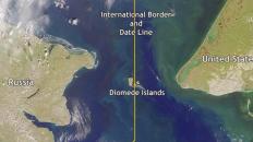 Kuasa ALLAH, walau jarak kurang 4km, jurang masa antara Pulau Big Diomede dan Little Diomede adalah 23 jam!