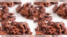 Resipi sempoi badam bersalut coklat. Dua bahan sahaja pun sedap