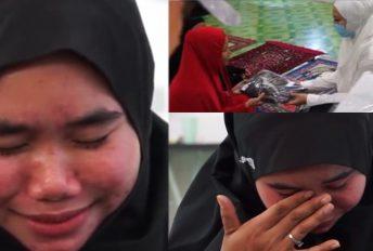 [VIDEO] Gadis Orang Asli nangis terharu, terima telekung cantik. Belum ada rezeki beli sendiri