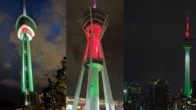 Cahaya bendera Palestin warnai tiga menara, solidariti bumi Palestin