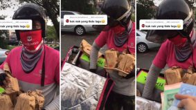 [VIDEO] Order makan online, sekali bapa sendiri hantar. Netizen puji ayah kelihatan muda