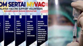 Rebut peluang jadi sukarelawan pusat vaksinasi, elaun RM50 sehari