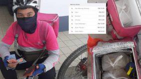 Rider kayuh 3km hantar makanan, rupanya order palsu. Nasib baik ada tolong bayar RM80