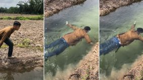 [VIDEO] Air jernih macam kolam renang, aksi lelaki berenang di parit dapat 2.2 juta tontonan