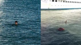 Kawan punya pasal, lelaki terjun laut, berenang ke Seberang Perai