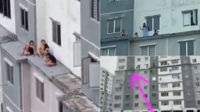 Santai paling berani, tak gayat! 5 wanita selamba lepak luar tingkap, tingkat 6 pangsapuri