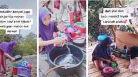 [VIDEO] Ibu sanggup masuk hutan kayu bakau cari barang terpakai buat anak main masak-masak di rumah