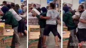 [VIDEO] Pengunjung panik berebut susu viral kononnya boleh cegah virus Covid-19