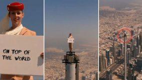 [VIDEO] Aksi berani pramugari berdiri di puncak Burj Khalifa 2,722 kaki raih perhatian warga maya