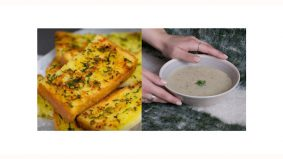 Resipi roti bawang putih dan sup cendawan senang dan jimat!