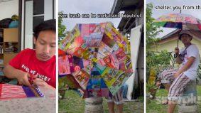 [VIDEO] Kreatif! Lelaki ini buat payung guna pembungkus makanan sahaja. Macam-macam brand ada