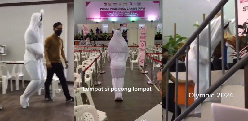 [VIDEO]'Pocong pun takut Covid-19', aksi lompat naik tangga di PPV curi tumpuan