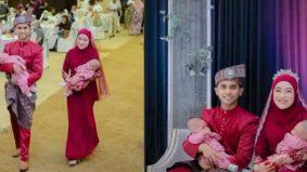 [VIDEO] Gara-gara PKP pengantin tak sempat bersanding, naik pelamin dengan anak kembar raih perhatian wargamaya