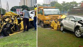 Myvi kuning hancur, pemandu selamat. 5 kenderaan dirempuh lori laju positif dadah