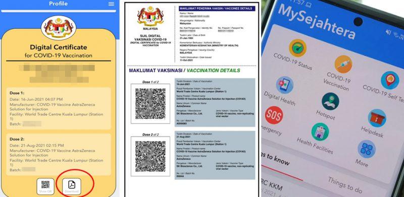 Mudah guna untuk rentas negeri, cetak sijil vaksin PDF di MySejahtera